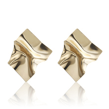 New Irregular Luxury Gold Earrings Geometric Square Metal Ladies Fashion Declaration Jewelry Party