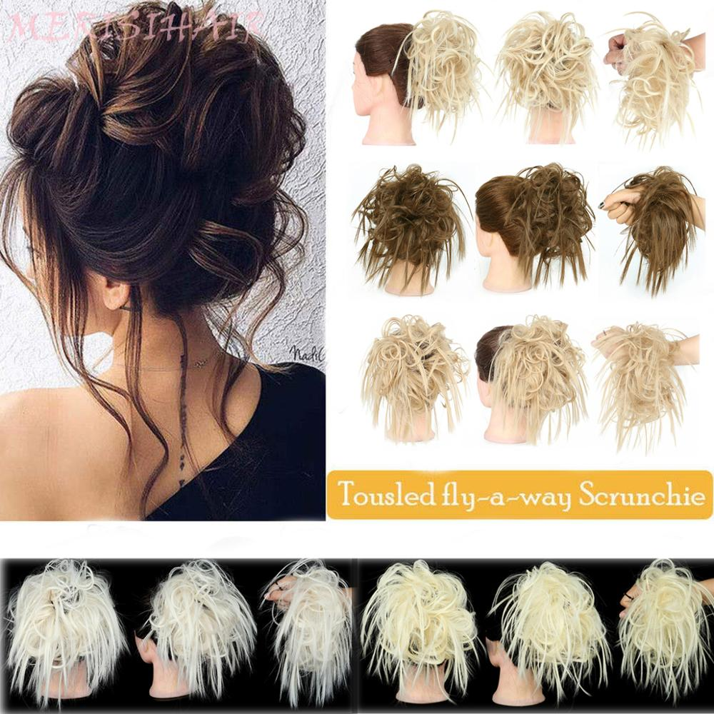 MERISI HAIR Messy Scrunchie Chignon Hair Bun Curly Elastic Band Updo Hairpiece Synthetic Hair Chignon Hair Extension For Women