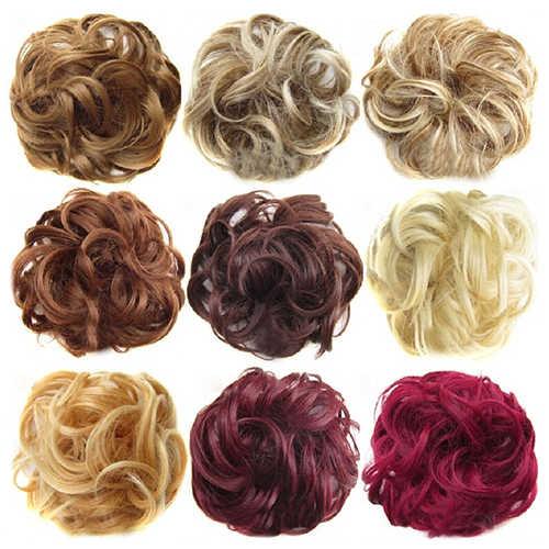2020 neue Trendy Design Frauen Wellenförmige Lockige Chaotisch Haar Bun Synthetische Elastische Haar Krawatte Verlängerung Haar Scrunchie Haarteile Bands