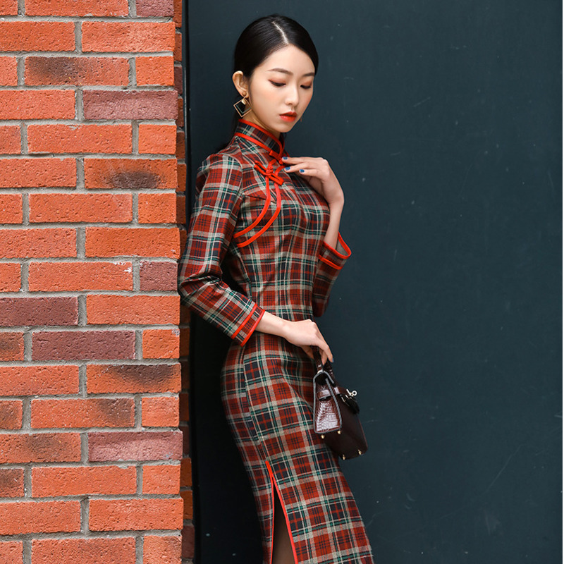 Sheng Coco Women Plaid Long Sleeve Dress Thickening Retro Lattice Qipao Long Cheongsam Red Black Chinese Qipao 4XL