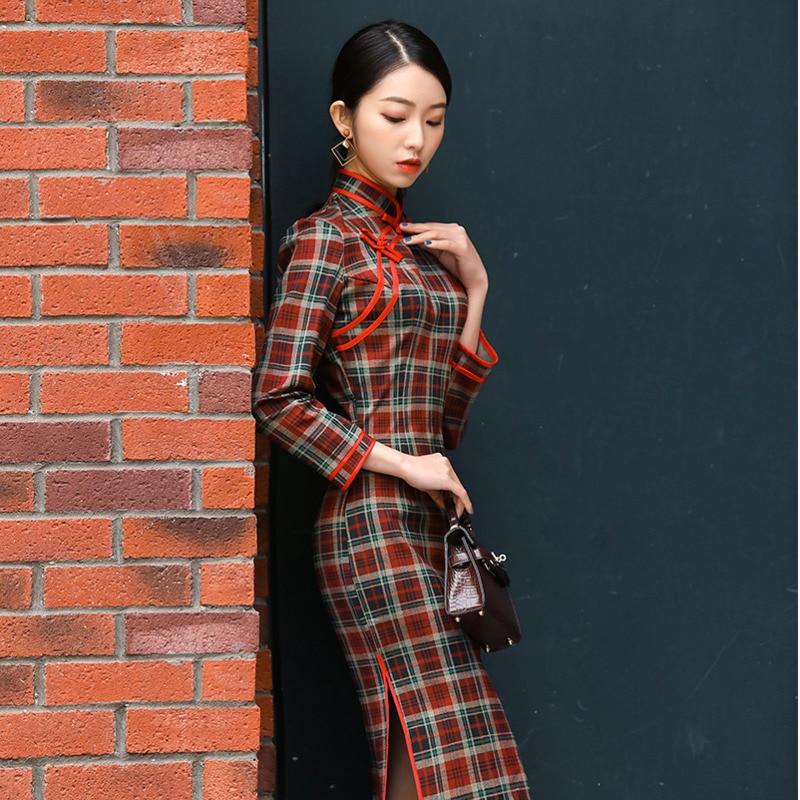 Sheng Coco Women Plaid Long Sleeve Dress Thickening Retro Lattice Qipao Long Cheongsam Red Black Chinese Qipao 4XL