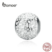 bamoer Minimalist Must-have Texture Round Metal Beads for Women Jewelry Making Silver 925 Charm for Bracelet & Bangle SCC1245