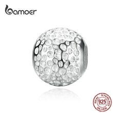 Bamoer Minimalist olmalı doku yuvarlak Metal boncuk kadınlar takı yapımı için gümüş 925 Charm bilezik ve bileklik için SCC1245