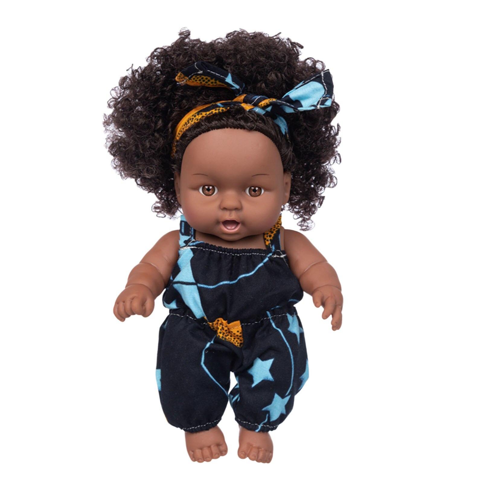 Realista lifelike bonecas crianças diversão festa de natal brinquedos presentes 25cm preto africano bonecas bonito encaracolado cabelo boneca bebê jogar macio renascer