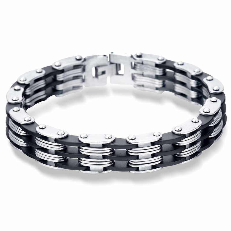 MD Titanium Stainless Steel Men Motorcycle Bike Chain Shape Heavy Cool Male Bangle Bracelet Jewelry