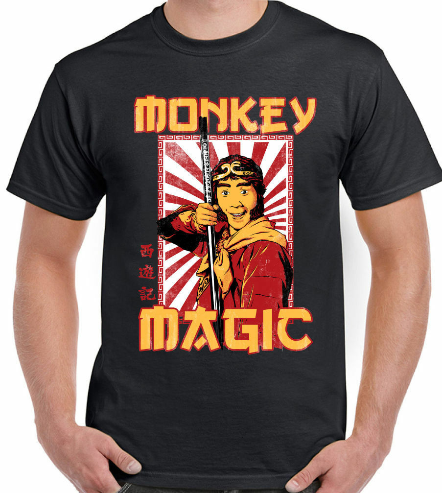 Mens Retro Monkey Magic T-Shirt Chinese Fantasy TV Show 70's 80's Martial Arts 100% cotton tee shirt, tops wholesale tee image