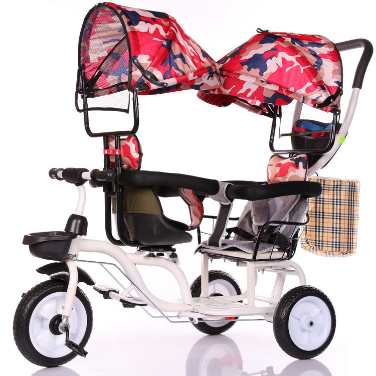 Baby Twin Tricycle Stroller 3 Wheels Double Stroller for Kids Twins Guardrail Seat Baby Toddler Bicycle Car Tricycle Child Pram