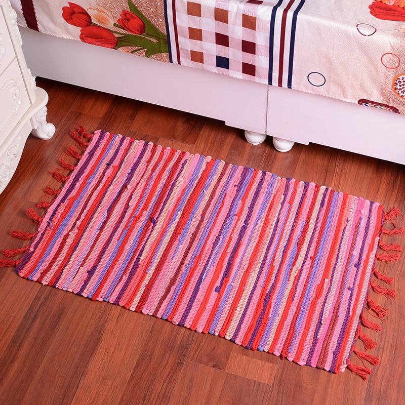 Online Shop Hand Woven Cotton Floor Door Sofa Mat Striped Bohemian