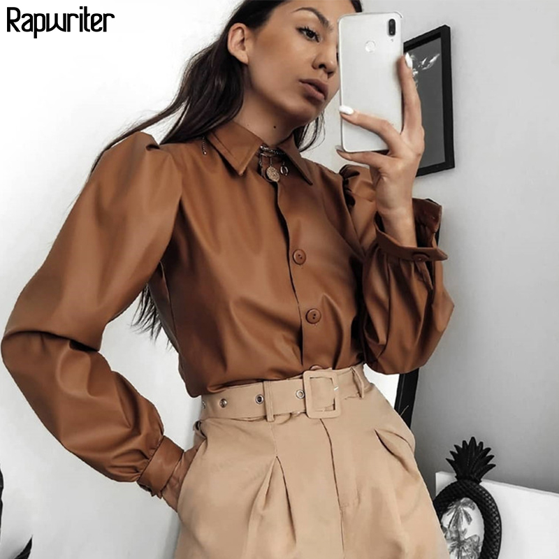 Rapwriter Casual Women Turn-down Collar Long Puff Sleeve Faux Leather Blouse 2019 Streetwear Autumn Ladies Retro Tops Buttons