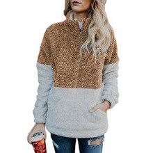 Winter Hoodie Women 2019 Turtleneck Fleece Streetwear Tops Black Oversized Hoodies Fashion Patchwork Zipper Autumn Sweatshirt