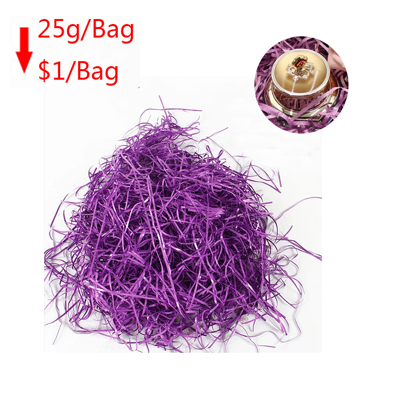 25g/bag Glitter Colorful Raffia Filler Paper Package Box Filler Crinkle Shredded Paper Box Filling Confetti For Gift Wrapping