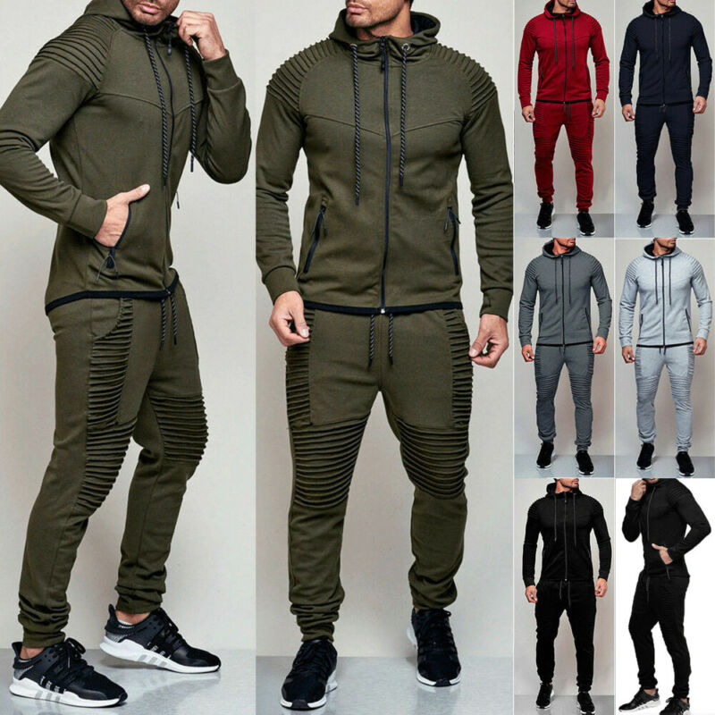 Men's Fleece Hoodie Tracksuit Slim Fit Hooded Autumn Winter Warm Fitness Gym Solid Color Zipper Cardigan