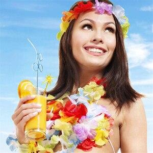 Image 5 - 100pcs/lot hawaii party leis flower wreath garland hawaiian necklace torpil hawai floral farmhouse decor