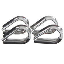 4 x Stainless Steel - 3mm Wire rope loop Rope Thimbles(China)