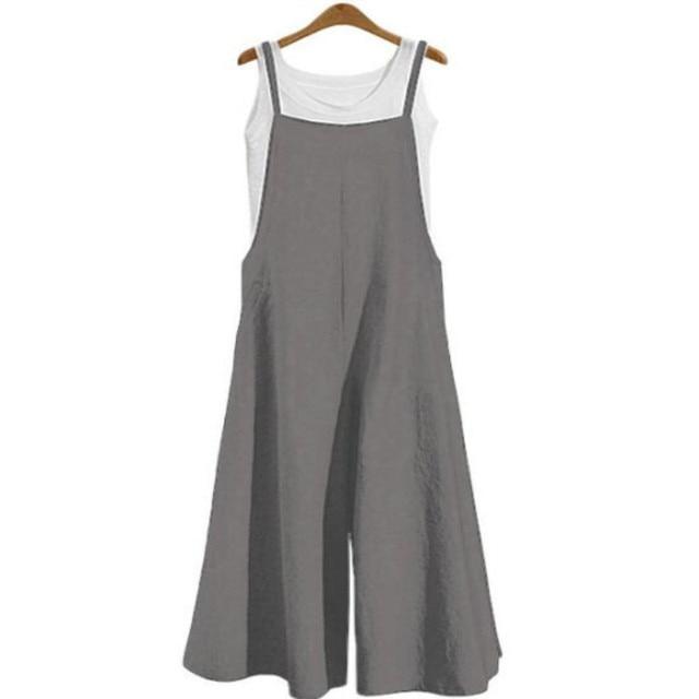Plus Size 5XL Women Cotton Jumpsuit Wide Leg Rompers Spaghetti Straps Dungaree Bib Overalls