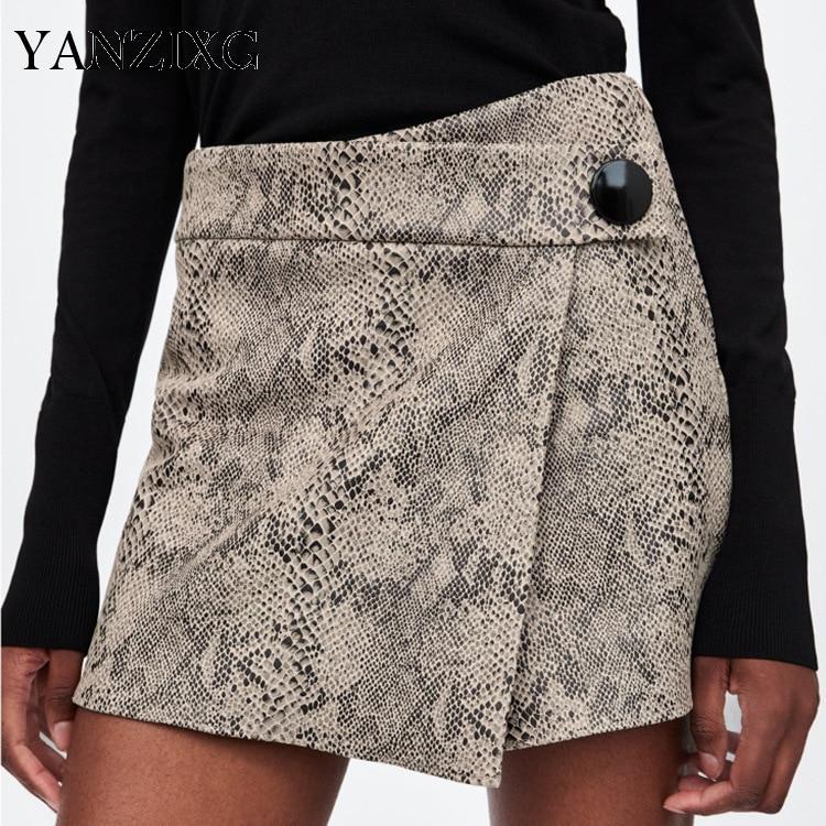 2019 Spring Summer Snake Print Asymmetrical Women's Shorts Fashion New High Waist All-match Hot Sale Bottoms E099