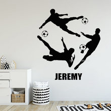 Multiplayer Football Vinyl Wall Stickers Custom Name Football Player Wall Decals Soccer Wallpaper Poster Personality Decor LL670(China)