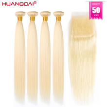 50g 5/6/7 pçs #613 mel loira pacotes com fechamento brasileiro em linha reta remy extensão do cabelo hd laço 100% cabelo humano para as mulheres