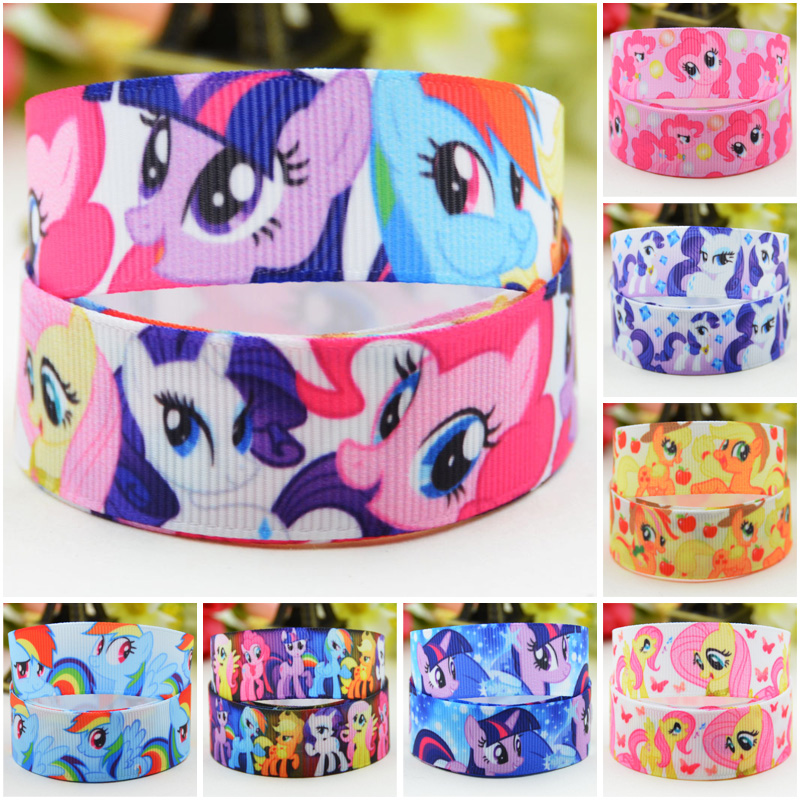 22mm 25mm 38mm 75mm Ruban satin My Little Pony Cartoon printed Grosgrain Ribbon party decoration sewing supplies 10 Yards Mul120 Ribbons    - AliExpress