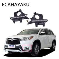 ECAHAYAKU Car LED DRL Fog Light Daytime Running Light for Toyota Highlander 2015 DRL Lamp Waterproof DC12 LED 1pair 6000K DC12V