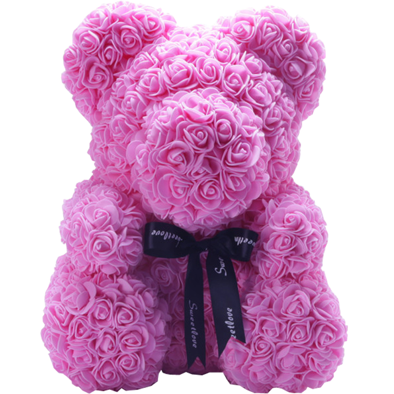 25cm And 40cm Valentine's Day Gift Wedding Decoration PE Foam Rose Teddy Bear
