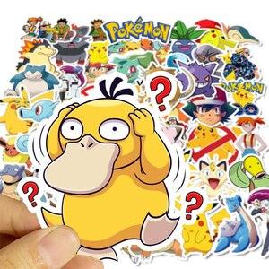 Image 3 - 50 Stuks Takara Tomy Pokemons Stickers Voor Bagage Skateboard Telefoon Laptop Moto Fiets Muur Gitaar Sticker Diy Waterdichte Sticker
