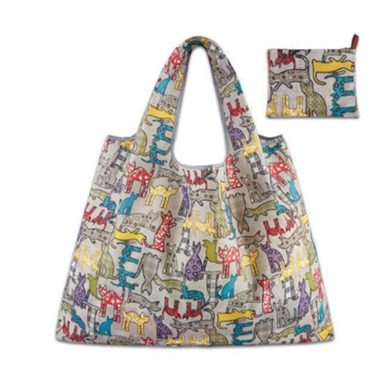 1PC Cartoon Cute Lady Foldable Recycle Dot Owl Cat  Shopping Bag Eco Large Reusable Shopping Bag Fruit Vegetable Grocery