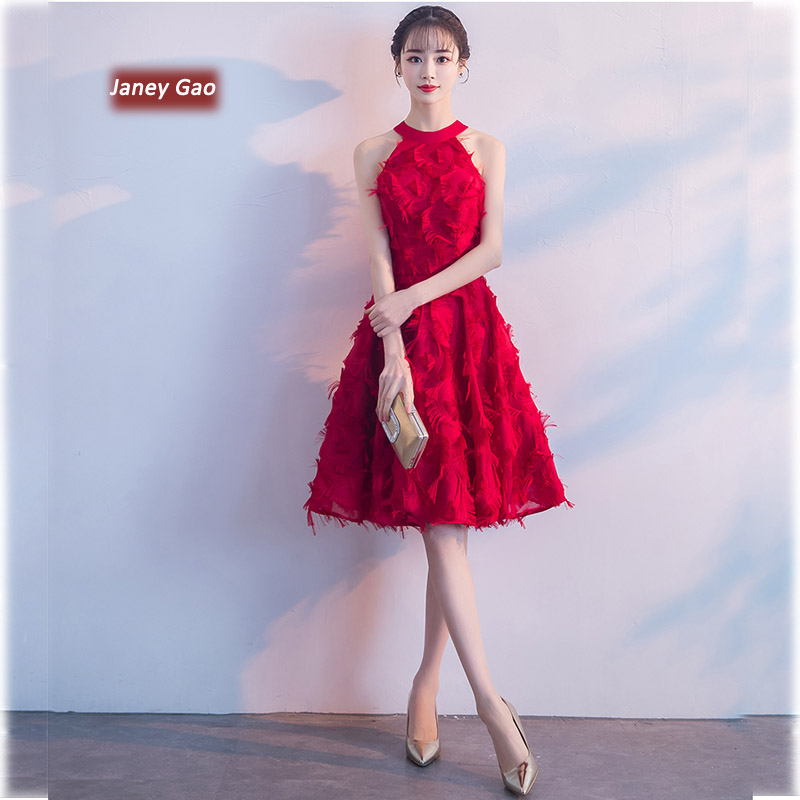 JaneyGao Short Prom Dresses Elegant Halter Sexy Off Shoulder A Line Red Women Formal Gown 2019 New Arrival Stylish In Stock