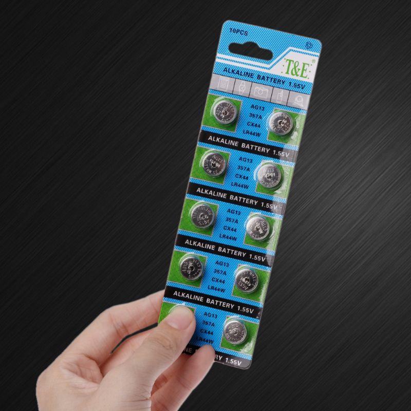 10PCS Alkaline Battery AG13 1.5V LR44 386 Button Coin Cell Watch Toys Batteries Control Remote SR43 186 SR1142 LR1142 PXPE