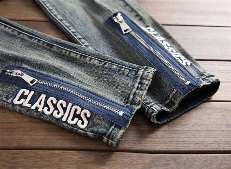 Mcikkny Fashion Men`s Hip Hop Ripped Jeans Pants Multi Zipper Patchwork Denim Trousers For Male Letter Embroidered (7)