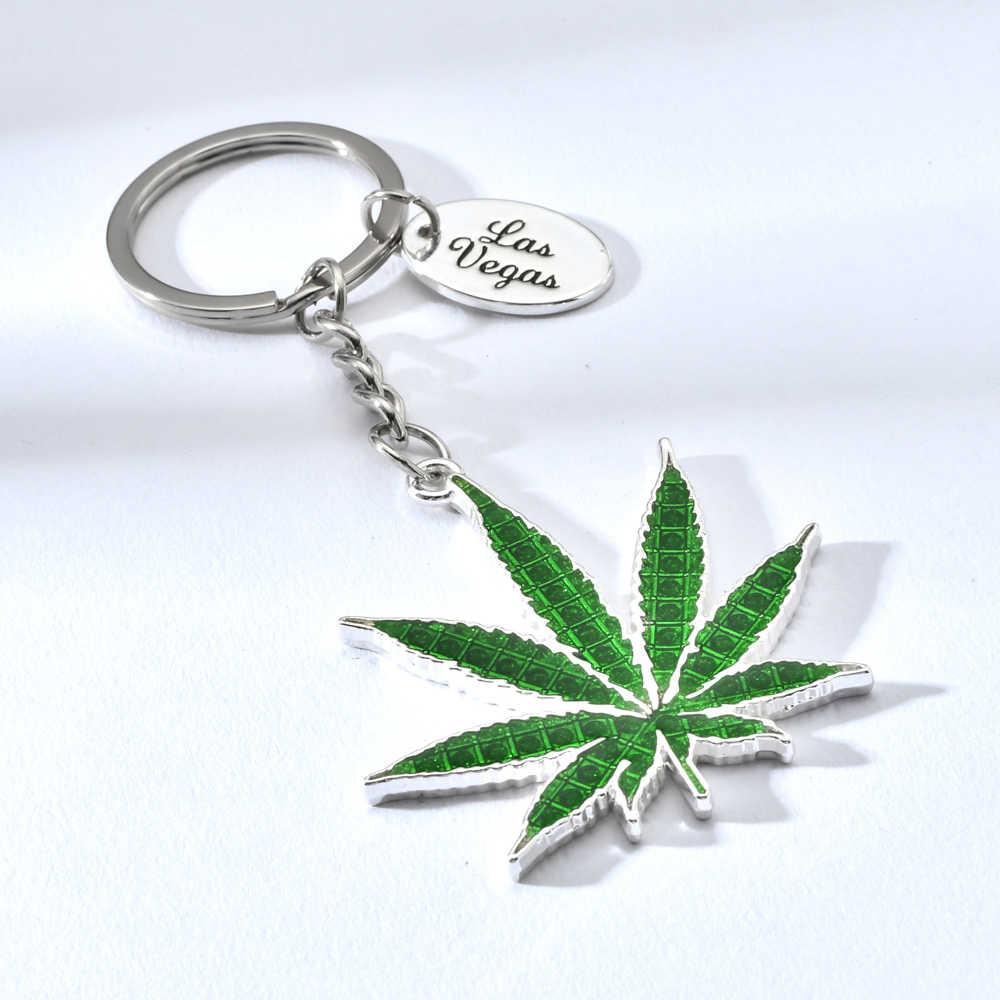 Vicney canabi leaf chaveiro chaveiro de folha de liga de zinco para os amigos