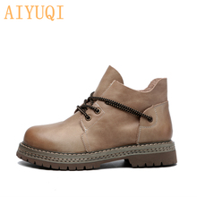 2019 Autumn New Female Ladies Shoes Boots Retro Lace Up Cow Genuine Leather Casual