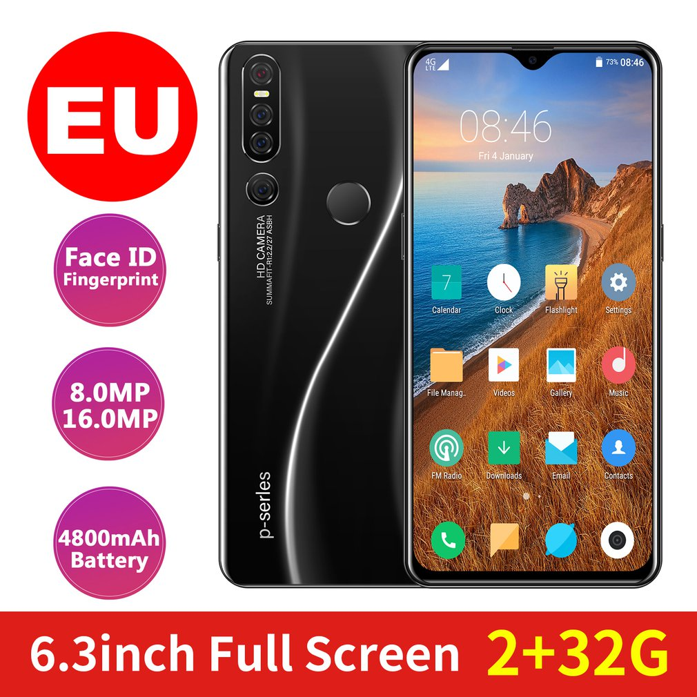 32Gb Mobile Phone Android 6.3 Inch Waterdrop Display Triple Camera Fingerprint Face Id Smartphone