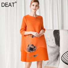 Pleated-Dress Floral Mesh Seven-Sleeve Elegant Casual-Style Woman Summer Fashion Loose