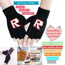 Вязаные перчатки на полпальца унисекс, осень и зима, теплые перчатки Roblox на полпальца для сенсорного экрана, вязаные крючком эластичные вар...
