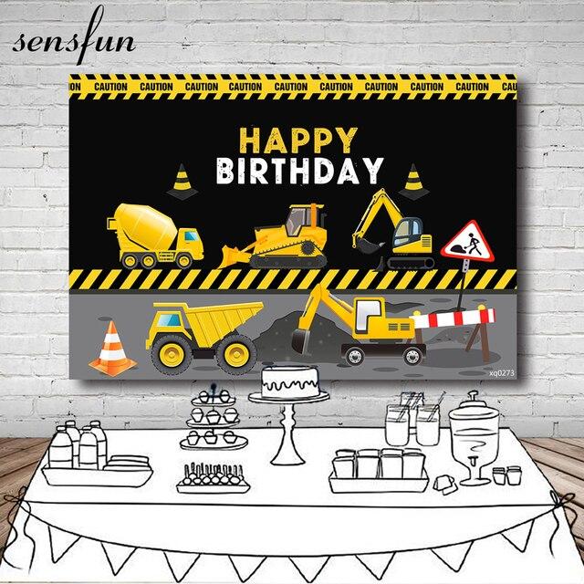 Tło strony konstrukcyjnej Sensfun dla chłopców fotografia urodzinowa transparent dekoracyjny tło wywrotka chłopiec rekwizyt do studia fotograficznego winylu