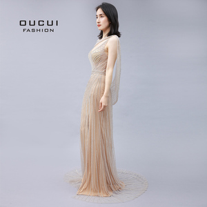 Image 4 - Oucui Real Photo แชมเปญหรูชุดราตรี 2020 เพชร Beaded Mermaid อย่างเป็นทางการชุด Elegant V คอเซ็กซี่ PROM Robe OL103670