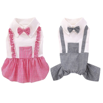 1PC Pet Dog Boy Jumpsuits Dog Girl Dress Dog Plaids Clothes Fashion Skirt Bowknot Sweety Dress Small Medium Dogs image