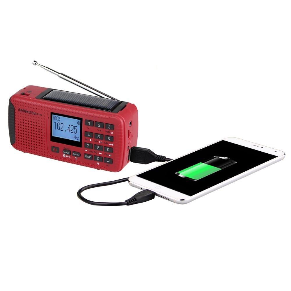 Retekess HR11W FM/AM NOAA погодное аварийное радио Ручной Солнечный радио Bluetooth MP3 плеер цифровой рекордер портативный F9208C - 3
