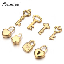 5pcs Stainless Steel Gold Key Lock Charms Couple Pendants for DIY Lovers Necklace Accessories Hip Hop Bracelet Jewelry Makings