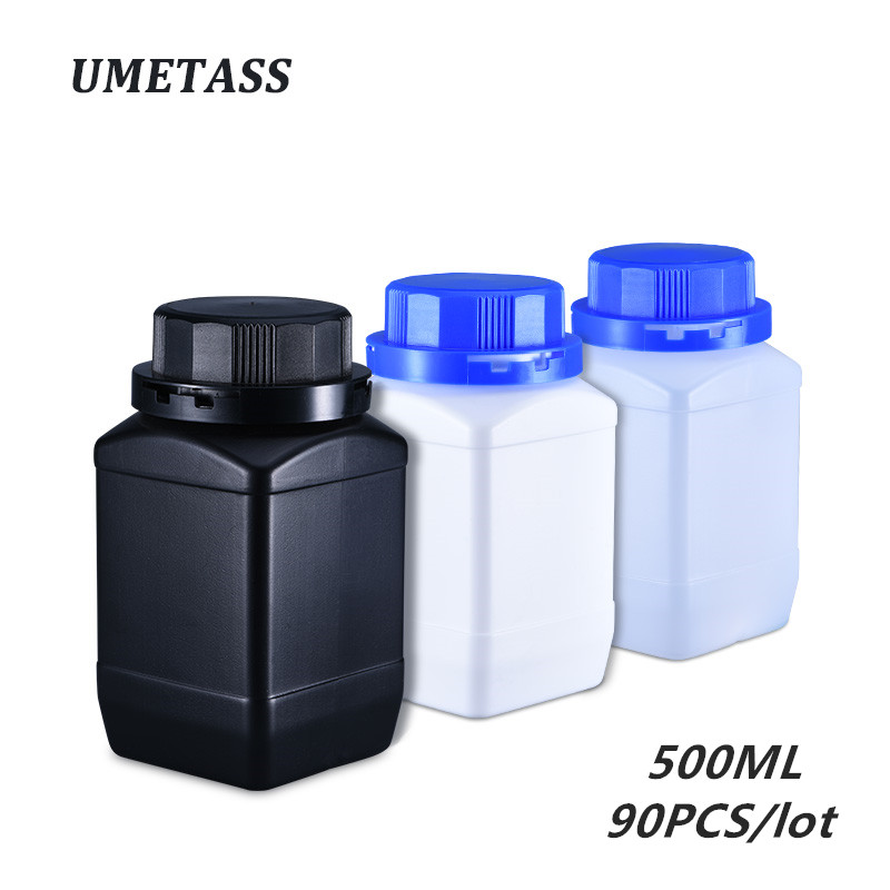 500ML Empty Plastic Bottle With Leakproof Lid Wide Mouth Container HDPE Reagent Bottles 90PCS/lot Wholesale
