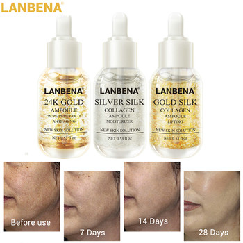 LANBENA Collagen Ampoule Anti-Aging Serum 24K Gold+Silver Silk +Gold Silk Lighten Spots Moisturizing Whitening Firming Skin Care gold caviar collagen serum