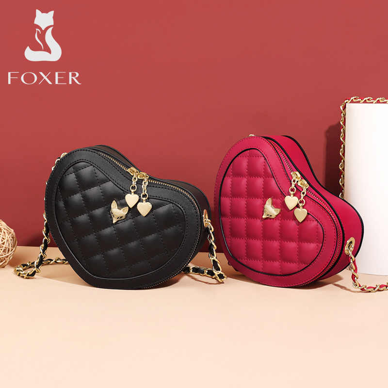 Foxer split couro bolsa de ombro diamante treliça crossbody saco amor coração padrão pequena bolsa moda estilo novo design aleta sacos