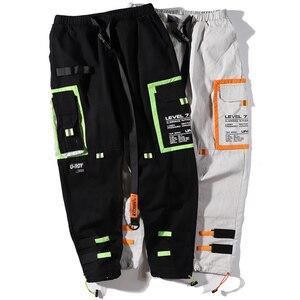 Image 5 - Hip Hip Cargo Pants Streetwear Men Harajuku Harem Pants Joggers 2019 Casual Tatical Pants Ribbon Multi Pockets Track Trousers