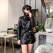 Women's medium length thin leather real windshield motorcycles large bike size adjustable sheepskin coat coat coat coat coat(China)