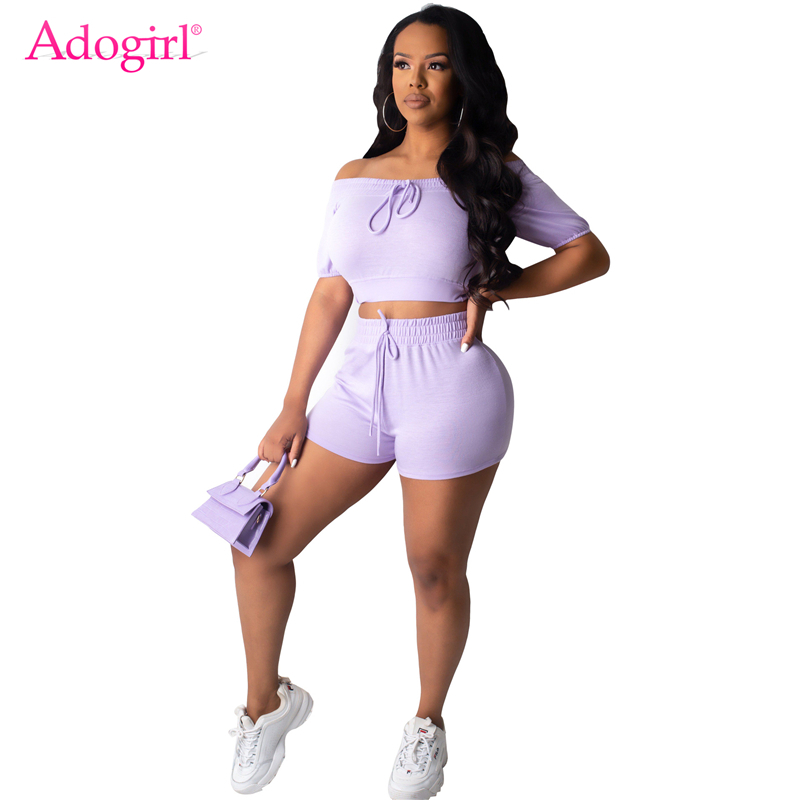 Adogirl Fashion Casual Solid Two Piece Set Lace Up Off Shoulder Short Sleeve Crop Top Shorts Women Tracksuit Summer Home Apparel