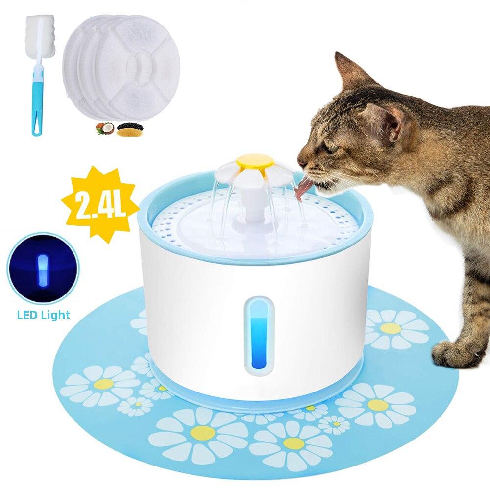 Автоматический фонтан для воды для домашних животных, кошек, со светодиодсветильник кой, 2,4 л, USB-устройство для подачи питьевой чаши, диспен...
