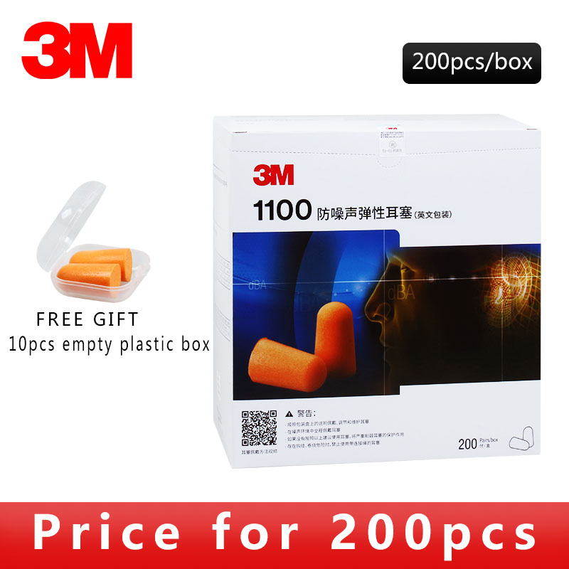 200 par/pudło 3M 1100 autentyczne powolne Reboun pianki miękkie zatyczki do uszu redukcja szumów spanie pływanie podróży pracy zatyczka do uszu ochronne