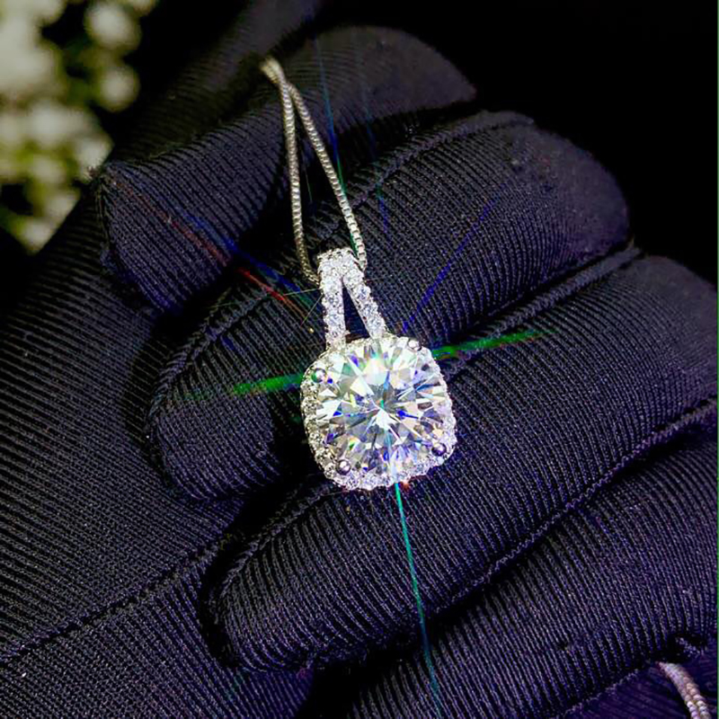 BOEYCJR 925 Silver 1ct/2ct/3ct F color Moissanite VVS Wedding Fine Jewelry Pendant Necklace for Women Anniversary Gift