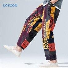 LOVZON Baggy Cotton Linen Harem Pants Men Hip-hop Women Plus Size Wide Leg Trousers Casual Vintage Long Pants